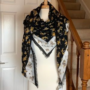 Coach yellow roses on black oversized scarf